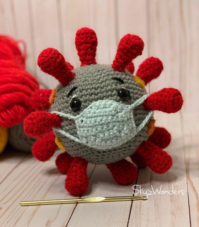 coronavirus crochet plushie